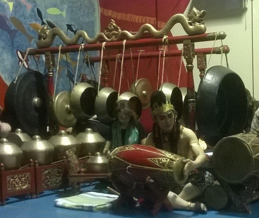 Kendang Sunda - the red one (picture from Langen Suka Sydney Gamelan Association)